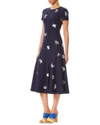 Carolina Herrera - Floral Midi Dress - Lyst