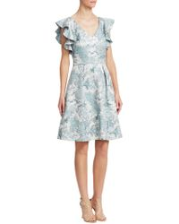 THEIA - Ruffled Fit-and-flare Dress - Lyst
