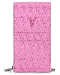Versace Virtus Quilted Leather Phone Pouch - Pink