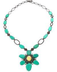 Bavna Diamond Silver Necklace - Blue
