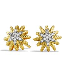 David Yurman - Starburst Mini Earrings With Diamonds In Gold - Lyst