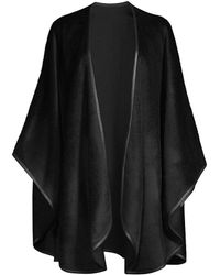 Sofia Cashmere Leather-trim Alpaca-blend Cape - Black