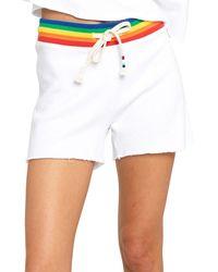 Sol Angeles Rainbow Striped Shorts - White
