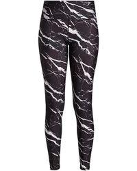 Terez Marble-print Super High Band Leggings - Black