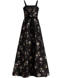 ML Monique Lhuillier Jacquard Floral Velvet-trimmed Sleeveless Gown - Black