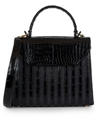 Nancy Gonzalez Tina Craig X Medium Lily Striped Crocodile & Raffia Top Handle Bag - Black