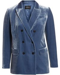 Lafayette 148 New York Slade Double - Breasted Velvet Blazer - Blue