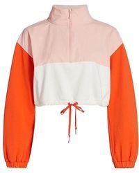 Juicy Couture Colorblock Mixed Media Pullover Crop Jacket - Orange