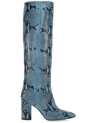 Paris Texas Knee-high Python-embossed Leather Boots - Blue