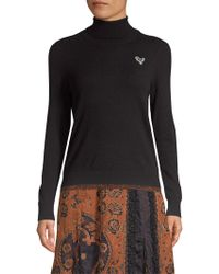 COACH Metallic-hem Turtleneck Sweater W/ Rexy Patch - Black
