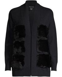 Sofia Cashmere Fur Front Cashmere Cardigan - Black