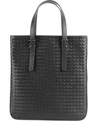Bottega Veneta Woven Leather Slim Tote - Black