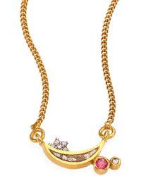 Shana Gulati Kolar Diamond & Pink Tourmaline Pendant Necklace - Metallic
