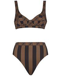 Fendi Checkered Two-piece Swimsuit - Black
