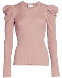 7 For All Mankind Puff-shoulder Crewneck Sweater - Multicolor