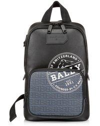Bally Sihorn Leather Sling Backpack - Black