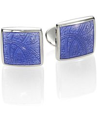 David Donahue Paisley Sterling Silver Cuff Links - Blue