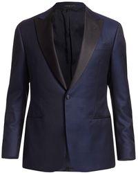 Giorgio Armani - Micro-chevron Cotton Dinner Jacket - Lyst