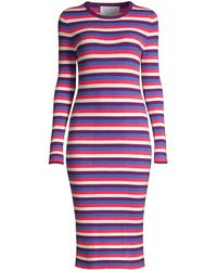 Victor Glemaud Striped Long-sleeve Ribbed Dress - Red