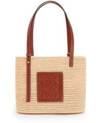 Loewe Square Raffia And Calfskin Small Basket Bag - Natural