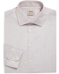 Armani - Regular Fit Pinstriped Dress Shirt - Lyst