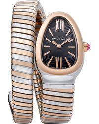 BVLGARI | Serpenti 18k Rose Gold & Stainless Steel Tubogas Bracelet Watch | Lyst