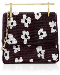 M2malletier Mini Floral Beaded Top Handle Bag - Purple