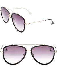 Alice + Olivia - Lincoln Black Aviator Sunglasses - Lyst