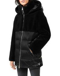 Mackage Junia Down Jacket With Wool Teddy Insets In Black - Women - Xxs