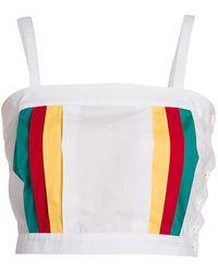 Plan C Multicolor Side-stripe Crop Tank Top - White