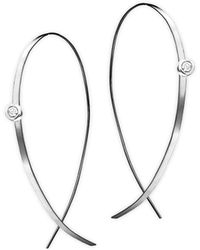 Lana Jewelry - Diamond & 14k White Gold Hoop Earrings - Lyst