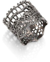 Aurelie Bidermann Vintage Lace Ring/silvertone - Black