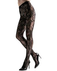 Natori Lace Cut Out Net Tights - Black