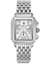 Michele Watches - Deco 18 Diamond, Mother-of-pearl & Stainless Steel Chronograph Bracelet Watch - Lyst