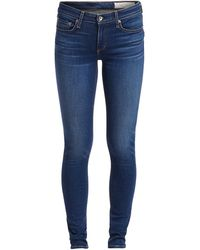 Rag & Bone Cate Mid-rise Skinny - Cliff Slim Fit Ankle Mid Indigo Jean - Blue