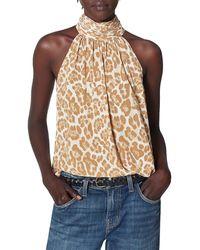 Joie Erola Leopard Silk Halter Top - Brown