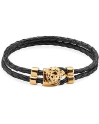 Versace - Goldtone Leather Medusa Medallion Wrap Bracelet - Lyst