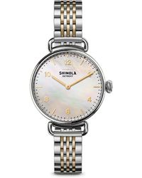 Shinola - Canfield Mother-of-pearl & Two-tone Stainless Steel Bracelet Watch - Lyst