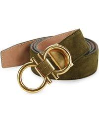 Ferragamo - Adjustable Suede Gancini Buckle Belt - Lyst