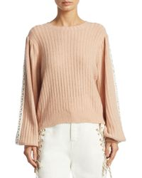 See By Chloé - Lace-trim Wool Blend Pullover - Lyst