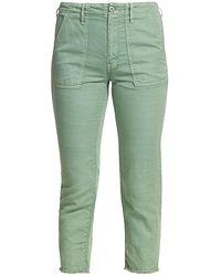 Mother The Shaker Mid-rise Chop Crop Linen-blend Jeans - Green