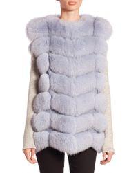 Saks Fifth Avenue | Chevron Saga Fox Fur Vest | Lyst