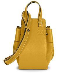 Loewe Mini Hammock Drawstring Bag In Soft Grained Calfskin - Yellow