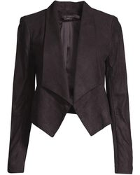 Alice + Olivia Warren Leather Blazer - Black