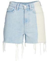 7 For All Mankind High-waist Fray Hem Denim Shorts - Blue