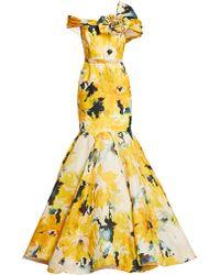 Marchesa - Floral Silk Moire Trumpet Gown - Lyst