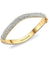 DEMARSON Venus 12k Yellow Gold & Swarovski Crystal Pavé Bangle Bracelet - Metallic