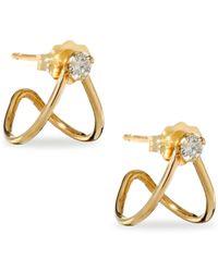 Zoe Chicco - Diamond & 14k Yellow Gold Split Earrings - Lyst
