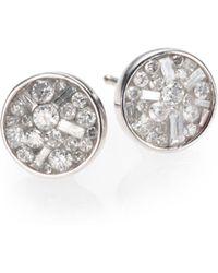 Plevé - Ice Diamond & 18k White Gold Stud Earrings - Lyst
