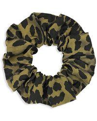 Ganni Leopard Hair Tie - Green